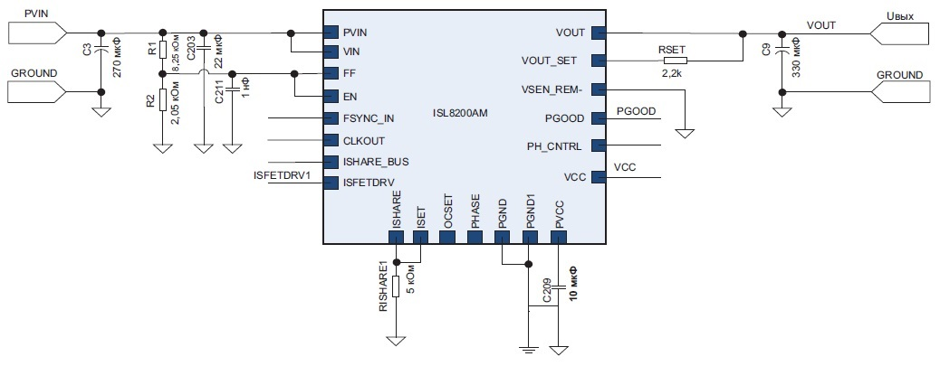 Типовая схема включения модуля ISL8200AM