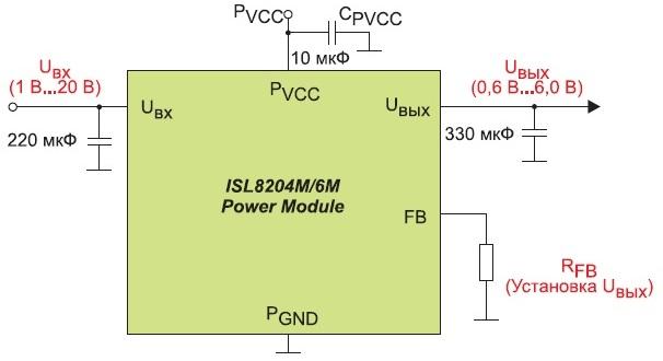 Схема включения модулей ISL8204M/6M