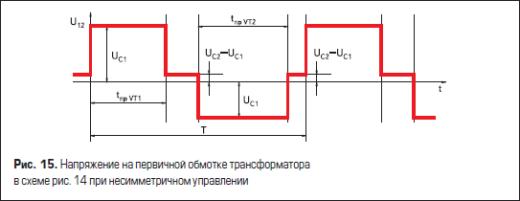 Напряжение на первичной обмотке трансформатора в схеме рис. 14 при несимметричном управлении
