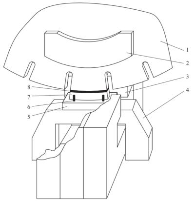 Фрагмент расположения сегмента на державке и его ориентация в зазоре индуктора-трансформатора