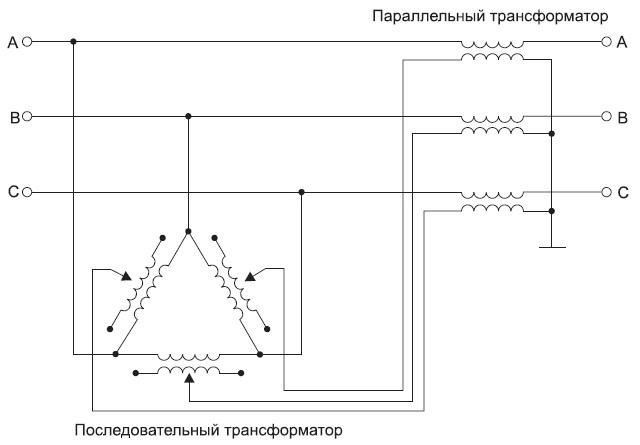 Схема фазоповоротного трансформатора