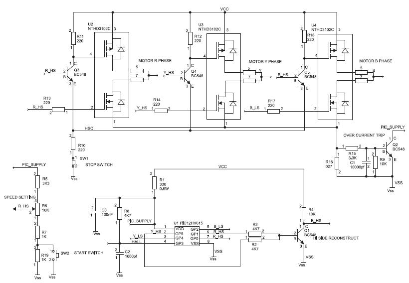 Принципиальная схема привода BLDC-мотора с контроллером PIC12HV615