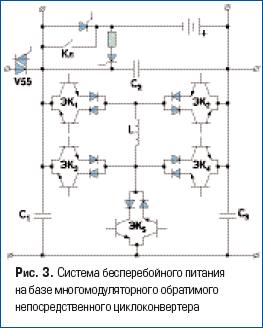 Система бесперебойного питания на базе многомодуляторного обратимого непосредственного циклоконвертера