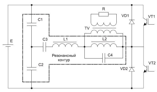 Упрощенная схема полумостового резонансного инвертора