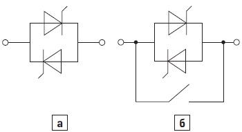 Упрощенная схема силовой части статического ключа наодну фазу
