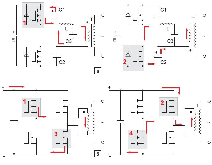 Принцип преобразования постоянного напряжения батареи в переменное инвертором в ИБП