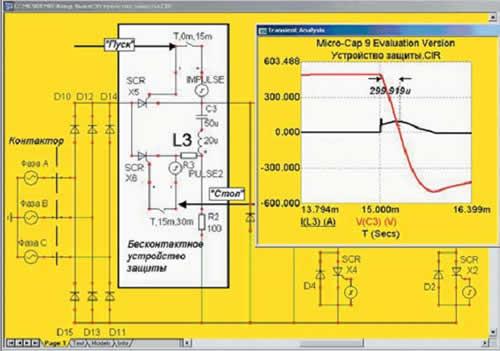 Диаграмма тока в индуктивности и напряжения на конденсаторе защиты