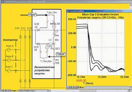 Изменение напряжения на конденсаторе ТКВ при изменении емкости конденсатора бесконтактного устройства защиты