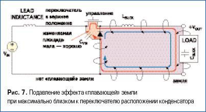Подавление эффекта «плавающей» земли при максимально близком к переключателю расположении конденсатора