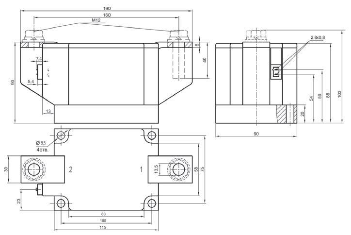 Габаритный чертеж модуля М1ТБ-1000