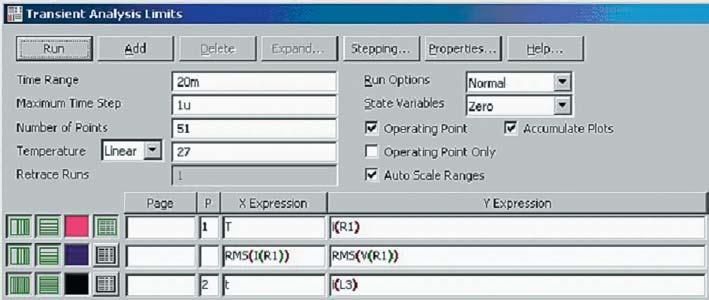 Панель задания параметров анализа переходных процессов
