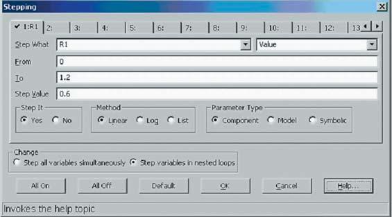 Панель изменения параметров расчетной модели при анализе переходных процессов