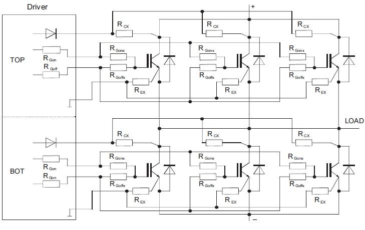 Параллельное включение IGBT-модулей от одного драйвера