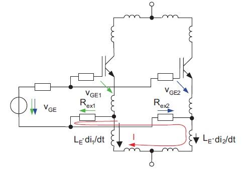 Балансирующий эффект REx: падение напряжения на эмиттерной индуктивности LE создает петлевой ток