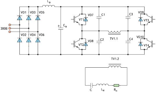 Типовая схема преобразователя частоты УИН