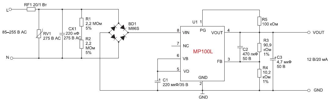 Принципиальная схема ИП дежурного режима с использованием микросхемы MP100L