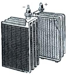 Блоки положительных и отрицательных электродов стационарной батареи