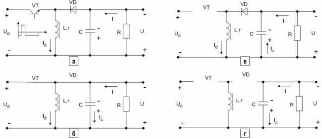 Схема импульсного инверсного повышающего регулятора и его расчетные схемы замещения на коммутационных интервалах