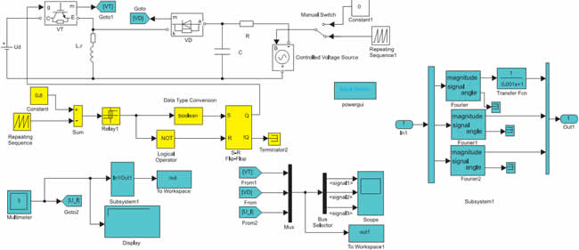 Модель импульсного инверсного повышающего регулятора напряжения с независимым управлением