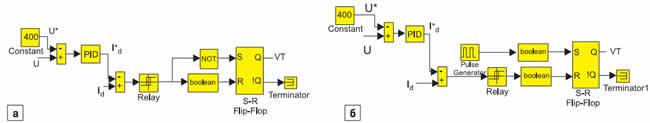 Модели схем управления импульсным инверсным повышающим стабилизатором напряжения