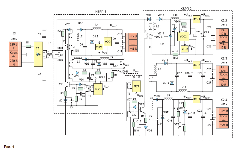 Упрощенная электрическая схема блока питания