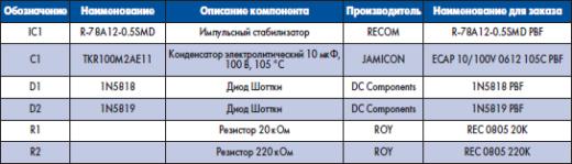 Перечень элементов схемы для управления напряжением программирования Flash-памяти