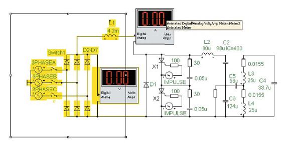 Элементы электропитания схемотехнической модели ТПЧ (выделены) и подключение измерительных приборов для контроля активной входной мощности