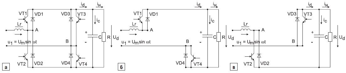 Полупроводниковый коммутатор ссимметричным управлением иего структуры накоммутационных интервалах
