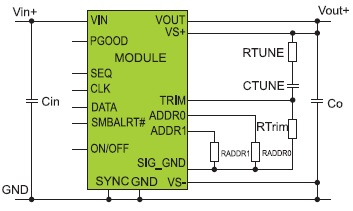 Типовая схема включения преобразователя с цифровым интерфейсом PMBus