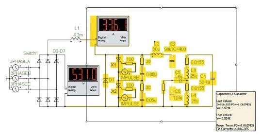 Элементы автономного инвертора и колебательной нагрузки (выделены) в схемотехнической PSpice-модели ТПЧ