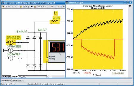 Результаты анализа переходных процессов в дросселе постоянного тока от момента пуска автономного инвертора (вверху) и график тока в одной фазе питающей сети