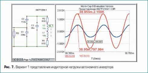 Вариант 1 представления индукторной нагрузки автономного инвертора