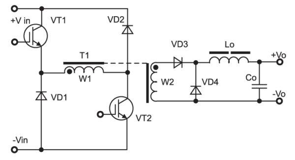 Схема однотактного прямоходового мостового конвертера (базовая топология)