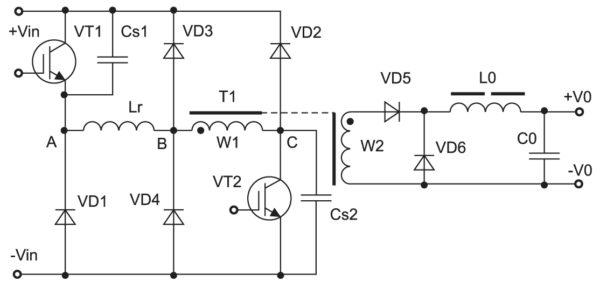 Схема ОПМК с фиксирующей цепью на первичной стороне силового трансформатора и «мягкой» коммутацией