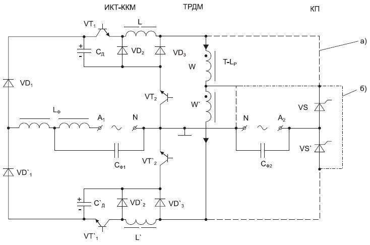 Варианты схем одного межфазного канала многофазного ПЧ с модулирующим ИКТ-ККМ и ТРДМ