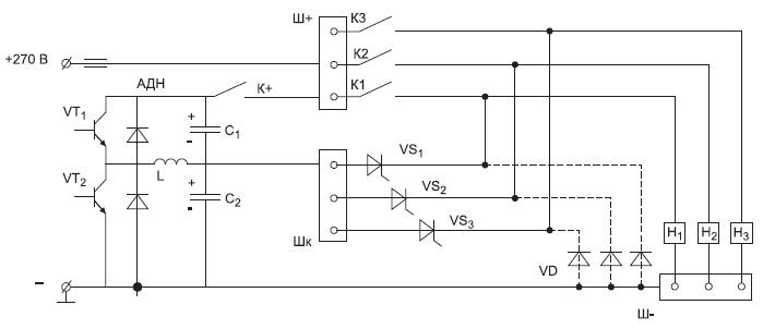 Вариант однопроводной СППН с ППКШ и заземленной отрицательной шиной
