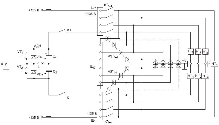 Вариант двухпроводной СППН сППКШ изаземленной нулевой шиной (СППН 0–±135 В)