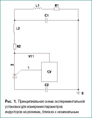 Принципиальная схема экспериментальной установки для измерения параметров индукторов на режимах, близких к номинальным