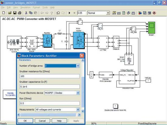 Диаграмма модели мощного конвертера класса AC/DC/AC