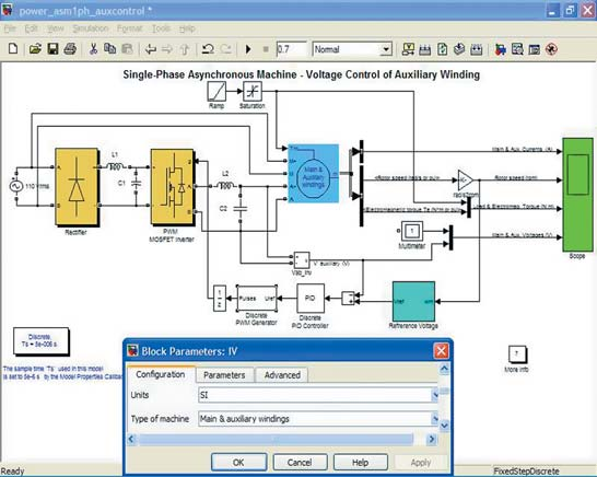 Диаграмма модели системы питания асинхронного электродвигателя
