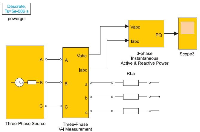 Модель трехфазной электрической цепи с активной нагрузкой