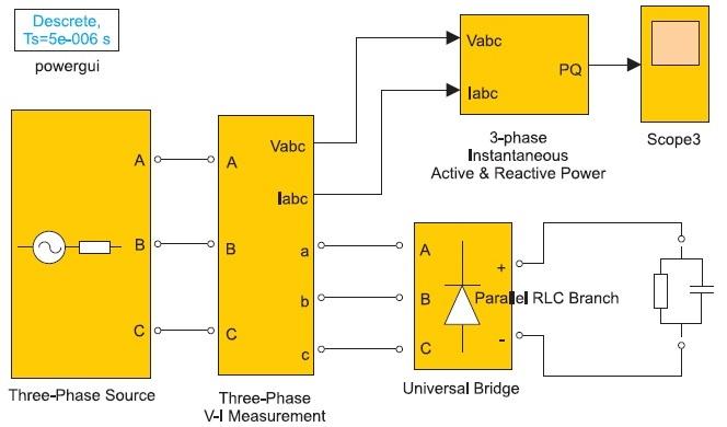 Модель трехфазной электрической цепи с нелинейной нагрузкой