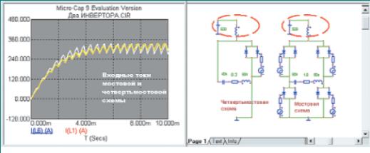Включение дросселей постоянного тока и временные диаграммы переходного процесса и пульсаций тока в них