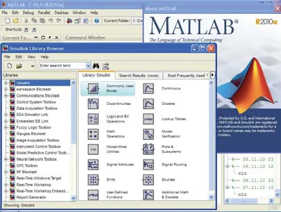 Графический интерфейс системы MATLAB R2010a с открытыми окнами основной библиотеки Simulink и данными о версии системы