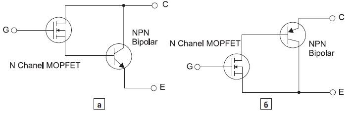 Представление в виде составного транзистора с дискретными приборами: а) побистора; б) IGBT