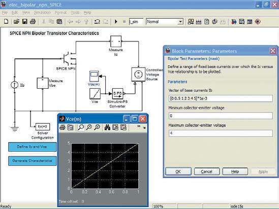 Диаграмма модели характериографа со SPICE-моделью биполярного n-p-n-транзистора