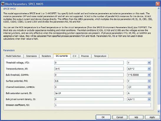 Окно параметров SPICE-модели MOSFET с каналом n-типа