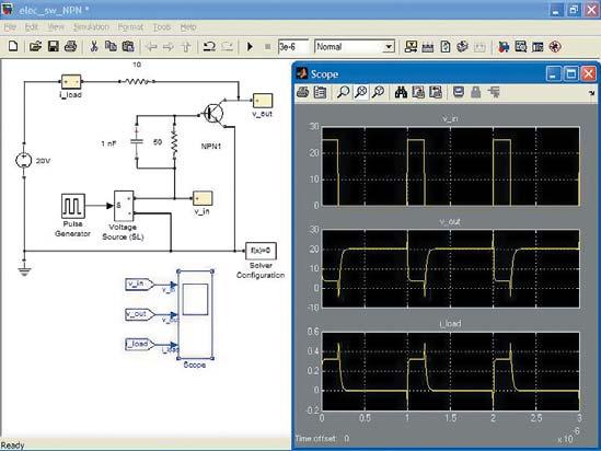 Диаграмма модели ключа на биполярном n-p-n-транзисторе с ускоряющим конденсатором в цепи базы