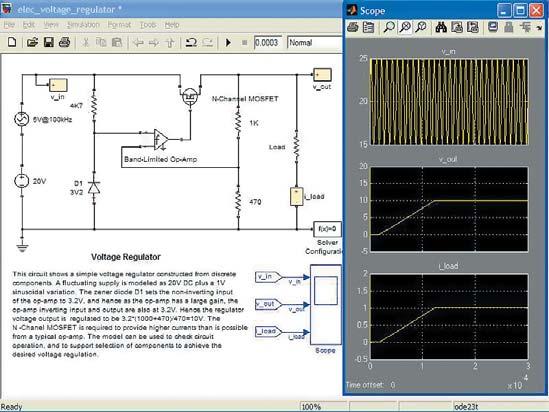 Диаграмма модели линейного стабилизатора с регулирующим полевым n-канальным MOSFET