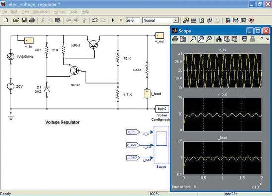 Диаграмма модели линейного стабилизатора, построенного полностью на биполярных транзисторах